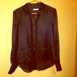 EQUIPMENT Black Silk Blouse Size Small